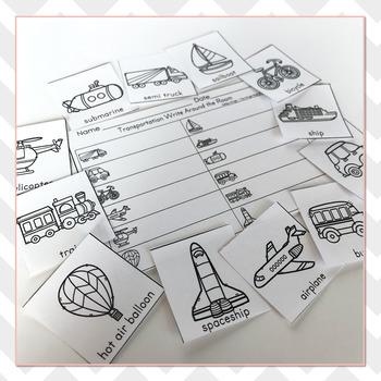 Transportation Vocabulary Practice - Write The Room