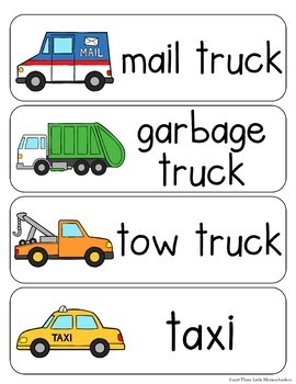 Transportation Vocabulary Word Wall Cards plus Write and Wipe Version