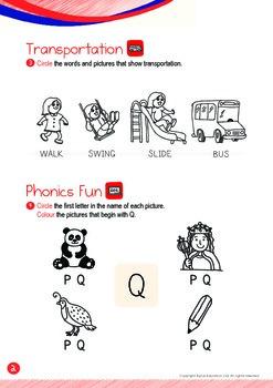 Transportation - Walk, Bus (I): Letter Q - K1 (3 years old), Kindergarten