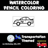 Fine Motor: Transportation Watercolor Pencil Fine Motor Skills Activities