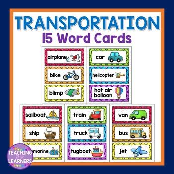 Transportation Word Cards