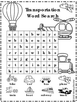 Transportation Word Search * Rebus for Primary