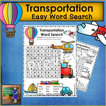 Transportation Word Search *Easy