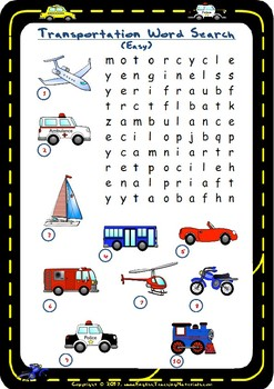Transportation Word Search | FREE Worksheet