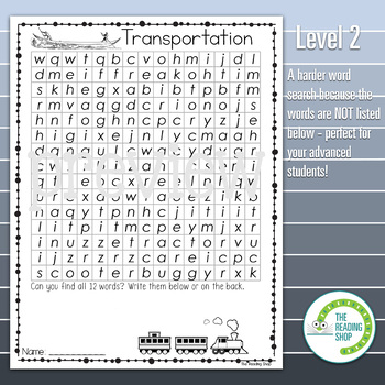 Transportation Word Search Puzzle - 3 Levels Differentiated