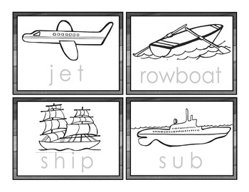 Transportation Word Tracing Cards - Ready to Color Your Own - BW Only -