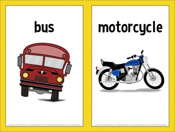Transportation Vocabulary Word Wall