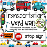 Transportation Word Wall  45 word cards -two sizes, includ