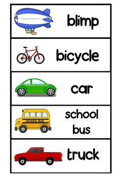 Transportation Word Wall Cards