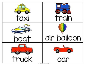 Transportation Word Wall Cards & Personal Word Wall