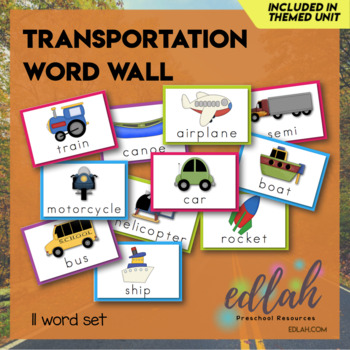 Transportation Vocabulary Word Wall Cards (set of 11) - Full Color Version