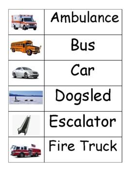 Transportation Word Wall Words