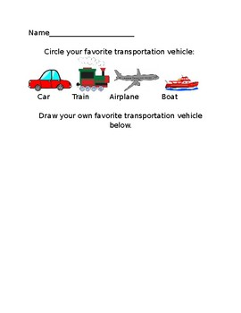Transportation Writing Activity