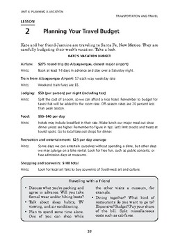 Transportation and Travel: Planning a Vacation-Planning Your Travel Budget