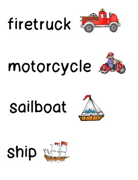 Transportation and Vehicle Word Wall Cards