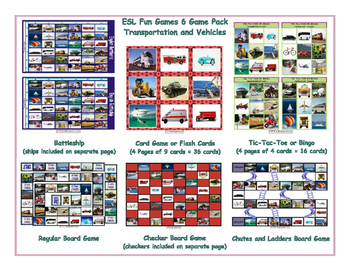 Transportation and Vehicles 6 Board Game Bundle