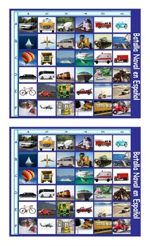 Transportation and Vehicles Spanish Legal Size Photo Battleship Game