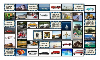 Transportation and Vehicles Spanish Legal Size Photo Board Game
