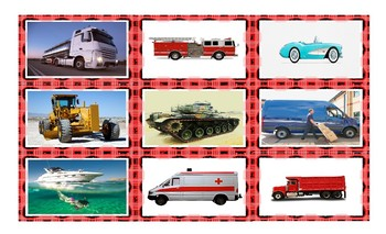 Transportation and Vehicles Spanish Legal Size Photo Card Game