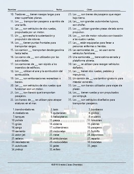 Transportation and Vehicles Word Spiral Spanish Worksheet
