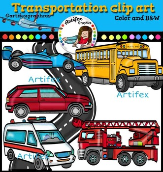 Transportation clip art . Color and B&W-