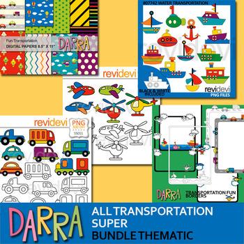 Transportation clip art bundle - water, land, air transport