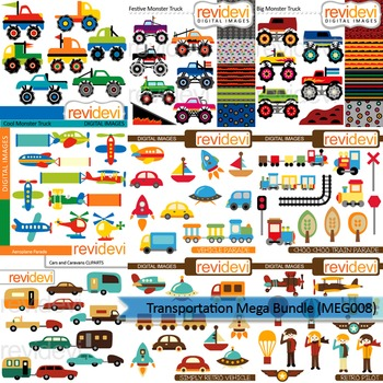 Transportation clip art mega bundle (9 packs)