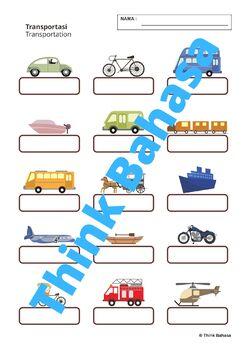 Transportation in Indonesian (Worksheets & Answer Keys)   Kendaraan
