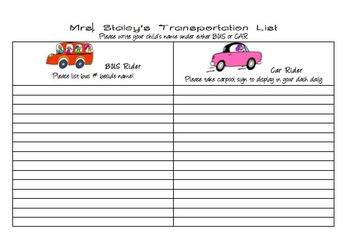 Transportation list for open house