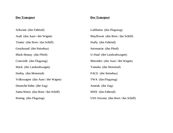 Transport (Transportation in German) Name brands