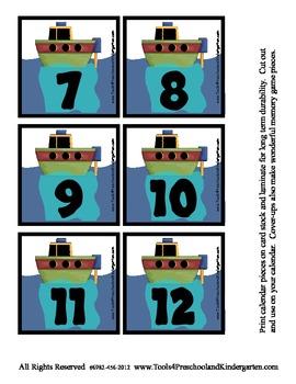 Transportation theme Calendar Cover-Ups Memory Game PreK Train Boat Helicopter