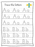 Transportation themed A-Z tracing preschool educational worksheets.  Daycare.