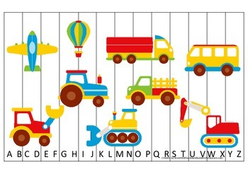 Transportation themed Alphabet Sequence Puzzle.  Preschool Alphabet learning gam