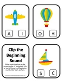 Transportation themed Beginning Sounds Clip it Cards preschool learning game.