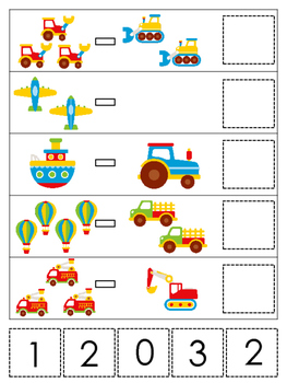 Transportation themed Math Subtraction preschool learning game. Daycare math
