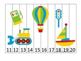 Transportation themed Number Sequence Puzzle 11-20.  Preschool Numbers.