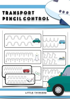 Transportation themed Pencil Control Practice Strips