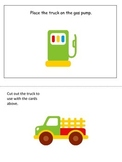 Transportation themed Positional Cards preschool learning game.  Daycare game.