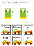 Transportation themed Positional Game.  Printable Preschool Curriculum Game