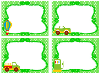Transportation themed Printable Blank Label Cards. Class Accessories.