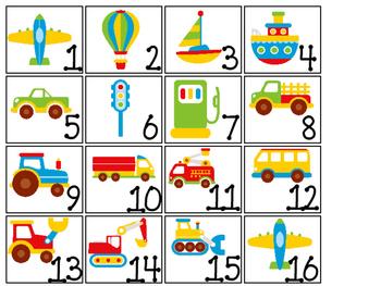 Transportation themed Printable Calendar Pieces Classroom Bulletin Board Set.