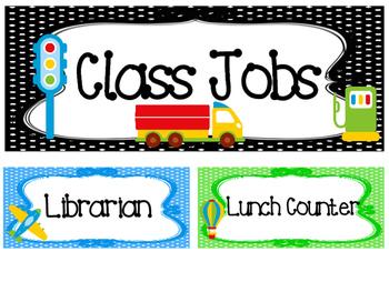 Transportation themed Printable Class Jobs Labels Classroom Bulletin Board Set.