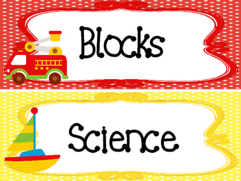 Transportation themed Printable Classroom Center Signs. Class Accessories.