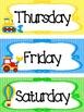 Transportation themed Printable Days of the Week Classroom Bulletin Board Set.