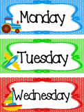 Transportation themed Printable Days of the Week Classroom Bulletin Board Set.