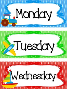 photo relating to Days of the Week Printable called Transport themed Printable Times of the 7 days Clroom Bulletin Board Fixed.
