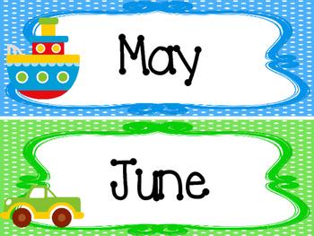 Transportation themed Printable Month Classroom Bulletin Board Set. Class Access