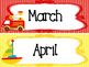 Transportation themed Printable Month Classroom Bulletin B
