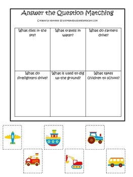 Transportation themed early learning activity for child. A
