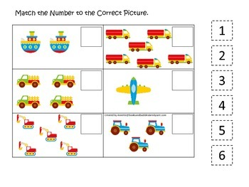 Transportation themed early learning activity for child. Match the Number.